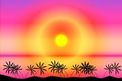 Tropische strandzonsondergang vector illustratie