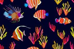 Tropische tiefe Lagune Nahtloses Vektormuster mit stilisierter gestickter Beschaffenheit vektor abbildung