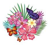 Tropische und exotics Blumen mit Schmetterlingen Lizenzfreie Stockfotografie