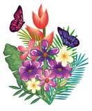 Tropische und exotics Blumen mit Schmetterlingen Stockfotografie