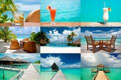 Tropische vakantiecollage stock afbeeldingen
