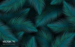 Tropische van het de Wildernis Naadloze Blad van de Bladerenpalm Bloemen het Patroonachtergrond Vector illustratie stock fotografie