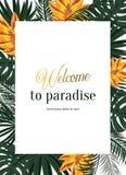 Tropische vectoraffiche met tropische bladeren en bloemen Stock Fotografie