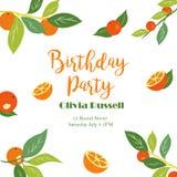 Tropische Verjaardagsaffiche met sinaasappelen Partijmalplaatje Uitnodiging, banner, kaart Stock Fotografie