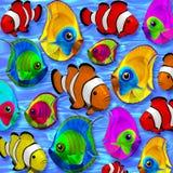 Tropische Vissen 3D op Blauw Duidelijk Water Stock Afbeelding