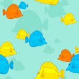 Tropische vissen naadloze textuur. Stock Foto's