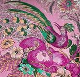 Tropische vogel met fruit en bloemen Royalty-vrije Stock Afbeeldingen