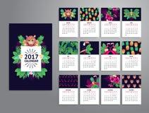 Tropische voor het drukken geschikte kalender 2017 stock illustratie