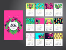 Tropische voor het drukken geschikte kalender 2017 Stock Foto's