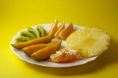 Tropische vruchten, kiwi, mango, ananas, sinaasappel en mandarin ora royalty-vrije stock foto's