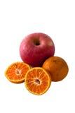 Tropische vruchten op witte achtergrond Stock Afbeelding