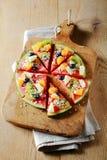Tropische watermeloenpizza voor een partijdessert Stock Foto