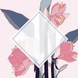 Tropische wildernisinstallaties met exotische roze leliesbloemen Tekstplaceholder in het midden vector illustratie