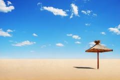 Tropische zonnescherm en wolken stock afbeelding