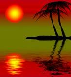 Tropische zonsondergang stock illustratie