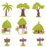 Tropischer Baum, Bungalows und alte hölzerne Verkehrsschilder, Gestaltungselemente des tropischen Dschungelwaldlandschaftsvektors vektor abbildung