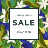 Tropischer Blumenhintergrund und 75% Rabattrahmen Verkaufsfahnen-Schablonendesign Sonderangebot des gro?en Verkaufs Blumenblumenb vektor abbildung