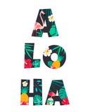 Tropischer Buchstabe ALOHA Poster mit Ananas, Blumen und Flamingo stock abbildung