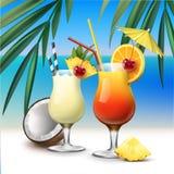 Tropischer Cocktails Tequila-Sonnenaufgang und Pina Colada vektor abbildung