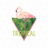 Tropischer Flamingo-Vogel-Hintergrund Palmen mit dem Meer und dem hölzernen Brett T-Shirt Mode-Grafik exotisch lizenzfreie abbildung