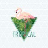 Tropischer Flamingo-Vogel-Hintergrund Palmen mit dem Meer und dem hölzernen Brett T-Shirt Mode-Grafik exotisch stock abbildung
