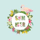 Tropischer Flamingo-Vogel und Blumen-Hintergrund Palmen mit dem Meer und dem hölzernen Brett T-Shirt Mode-Grafik exotisch lizenzfreie abbildung