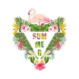 Tropischer Flamingo-Vogel und Blumen-Hintergrund Palmen mit dem Meer und dem hölzernen Brett T-Shirt Mode-Grafik exotisch stock abbildung