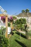 Tropischer Garten mit Palmen und Bouganvillablumen Lizenzfreies Stockfoto
