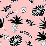 Tropischer Hintergrund des Sommers Palmblätter, exotische Früchte Vektor h Stockbilder