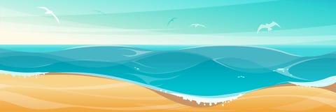 Tropischer Hintergrund mit sandigem Strand und blauem Meer Lizenzfreies Stockfoto