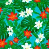 Tropischer Hintergrund Nahtloses Muster des Sommers Exotische Blätter, Blumen wiederholten Beschaffenheit ENV 10 bunte Blumentape stock abbildung