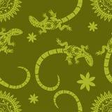 Tropischer Hintergrund von Blumen, von Sonne und von Eidechsen Exotische Vektorillustration des nahtlosen Musters Flacher Druck d vektor abbildung