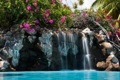 Tropischer Hotelpoolwasserfall + -bouganvilla Stockbild