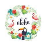 Tropischer Kranz mit Flamingo, Tukanen, exotischen Blättern und Blumen Stockbild