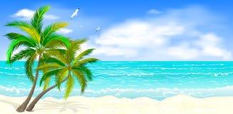 Tropischer Meerblick mit Palmen vektor abbildung