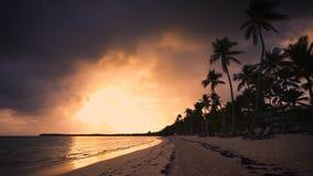 Tropischer Paradiesinselstrand mit Palmen, Sonnenunterganglandschaft, Abend stock footage