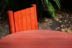 Tropischer roter Tabellen-Hintergrund-Abschluss oben Lizenzfreie Stockfotos