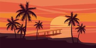 Tropischer schöner Sonnenuntergang, Landschaft, Palmen, Meer, Vektor, Karikaturart, Illustration lokalisiert Stockbild