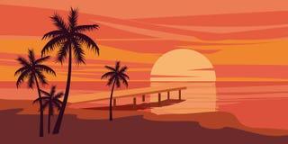 Tropischer schöner Sonnenuntergang, Landschaft, Palmen, Meer, Vektor, Karikaturart, Illustration lokalisiert Lizenzfreies Stockbild
