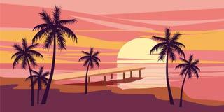 Tropischer schöner Sonnenuntergang, Landschaft, Palmen, Meer, Vektor, Karikaturart, Illustration lokalisiert Lizenzfreies Stockfoto