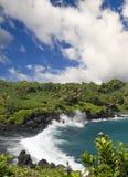 Tropischer schwarzer Sand-Strand Stockfotos