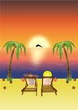 tropischer Sonnenuntergang auf Strand Stockfotos