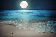 Tropischer Strand der schönen Fantasie mit Stern und Vollmond in den nächtlichen Himmeln Stockfotos