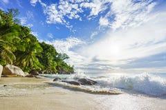 Tropischer Strand des Paradieses mit Felsen, Palmen und Türkis wate Stockbild