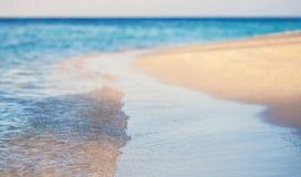 Tropischer Strand des Weinleseart-Hintergrundes Stockbild