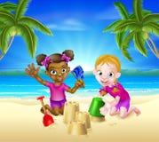 Tropischer Strand-Familienurlaub lizenzfreie abbildung