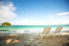 Tropischer Strand mit Kokosnussbaum Lizenzfreie Stockbilder