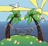 Tropischer Strand mit Palmen Lizenzfreie Stockfotografie