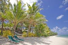 Tropischer Strand mit Palmen und Aufenthaltsraum-Stühlen lizenzfreies stockfoto