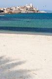 Tropischer Strand mit Palmenschatten Stockbild
